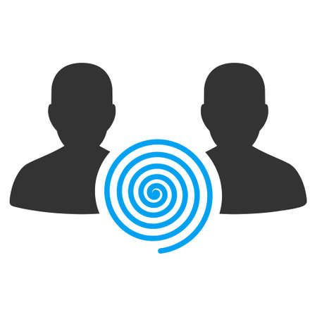 Hypnosis Sect raster icon. Flat bicolor blue and gray symbol. Pictogram is isolated on a white background. Designed for web and software interfaces.