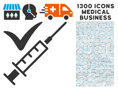 Injection grey vector icon with 1300 medical business pictographs. Clipart style is flat bicolor light blue and gray pictograms.