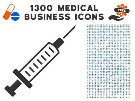 Syringe grey vector icon with 1300 clinic business symbols. Clipart style is flat bicolor light blue and gray pictograms.