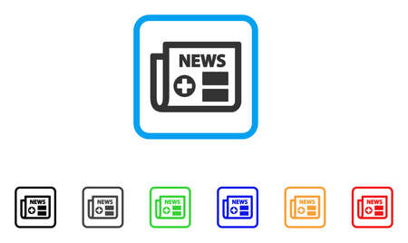 Medical Newspaper icon. Flat iconic symbol in a rounded square. Black, gray, green, blue, red, orange color variants of Medical Newspaper vector. Designed for web and software UI.