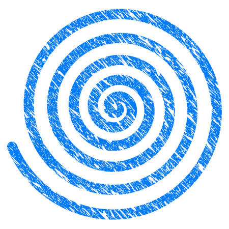 Grunge Hypnosis Spiral icon with scratched design and dirty texture. Unclean vector blue Hypnosis Spiral pictogram for rubber seal stamp imitations and watermarks. Draft sticker symbol.