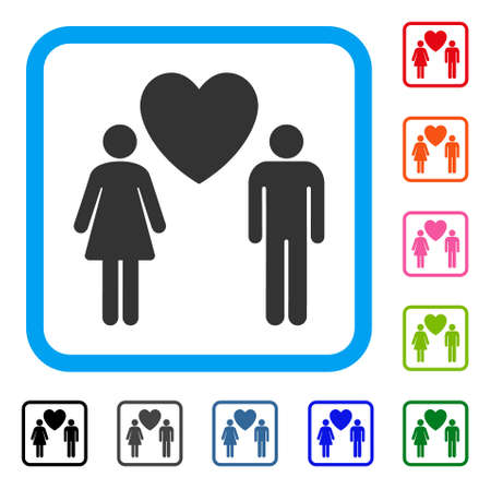 Love Persons icon. Flat grey iconic symbol inside a light blue rounded square. Black, gray, green, blue, red, orange color versions of Love Persons vector. Designed for web and app UI.