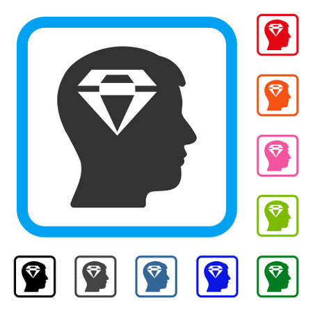 Human Head With Diamond icon. Flat grey iconic symbol in a blue rounded rectangular frame. Black, gray, green, blue, red, orange color additional versions of Human Head With Diamond vector.