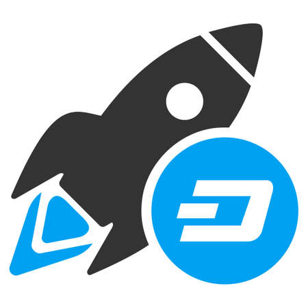 Dash Rocket raster icon. Illustration style is a flat iconic bicolor blue and gray symbol on white background.