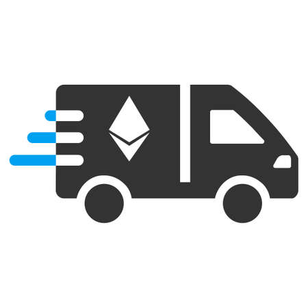 Express Ethereum Delivery Car raster pictogram. Illustration style is a flat iconic bicolor blue and gray symbol on white background.