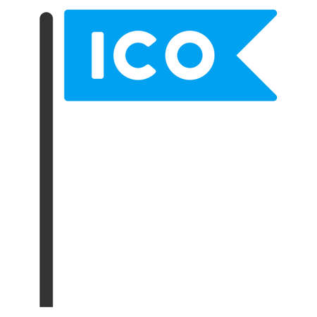 Ico Flag raster pictograph. Illustration style is a flat iconic bicolor blue and gray symbol on white background.