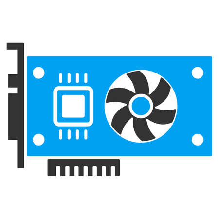 Video Accelerator Card raster pictograph. Illustration style is a flat iconic bicolor blue and gray symbol on white background.