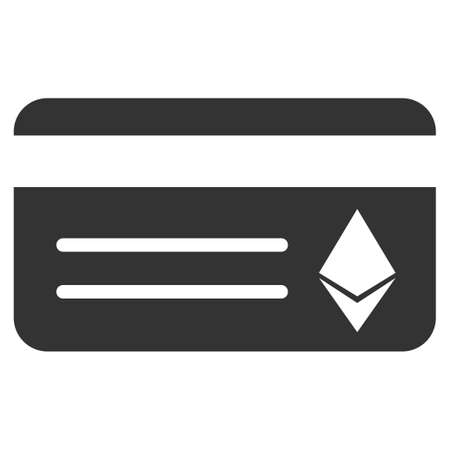 Ethereum Banking Card raster icon. Illustration style is a flat iconic gray symbol on white background.