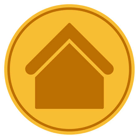Home Building golden coin icon. Raster style is a gold yellow flat coin symbol.