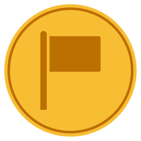 Flag Pointer golden coin icon. Raster style is a gold yellow flat coin symbol.