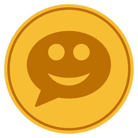 Message Smile Smiley golden coin icon. Raster style is a gold yellow flat coin symbol.