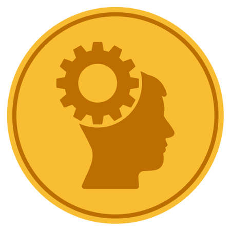 Thinking Gear golden coin icon. Raster style is a gold yellow flat coin symbol.