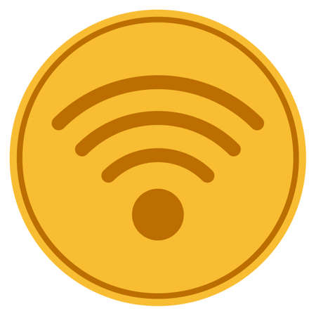 Wi-Fi Source golden coin icon. Raster style is a gold yellow flat coin symbol.