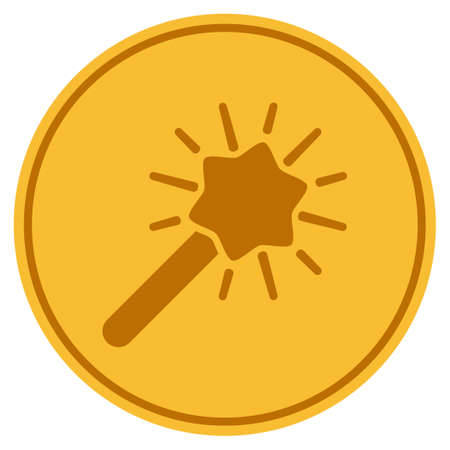 Wizard Wand golden coin icon. Raster style is a gold yellow flat coin symbol.