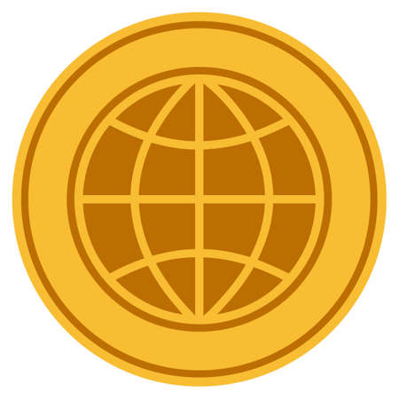 World golden coin icon. Raster style is a gold yellow flat coin symbol.
