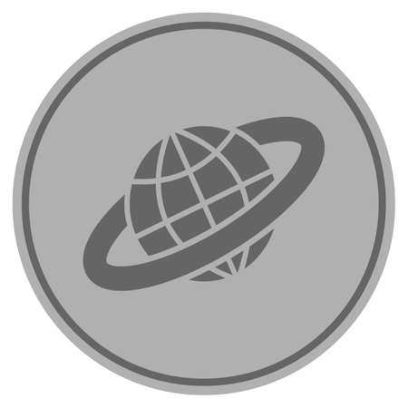 Planetary Ring silver coin icon. Raster style is a silver grey flat coin symbol.