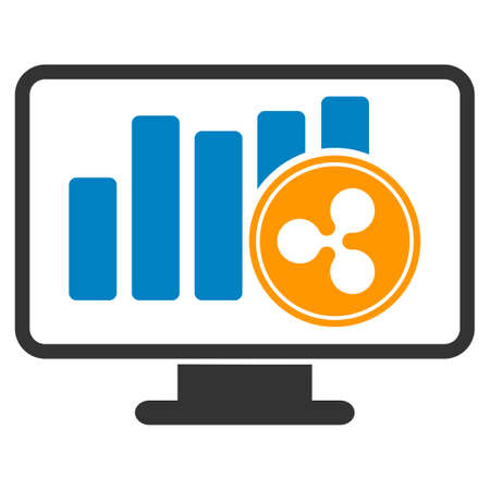 Ripple Chart Monitoring flat raster pictogram. An isolated icon on a white background.