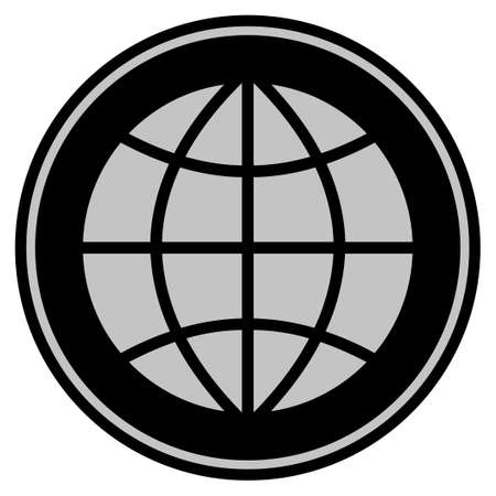 Planet Globe black coin icon. Raster style is a flat coin symbol using black and light gray colors.