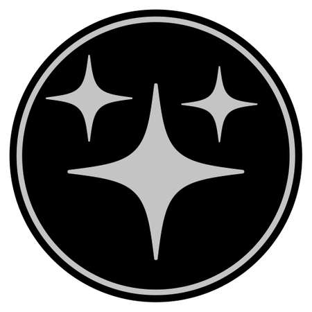 Space Stars black coin icon. Raster style is a flat coin symbol using black and light gray colors.