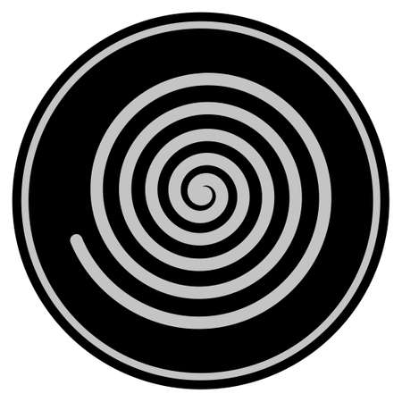 Hypnosis Spiral black coin icon. Vector style is a flat coin symbol using black and light gray colors.