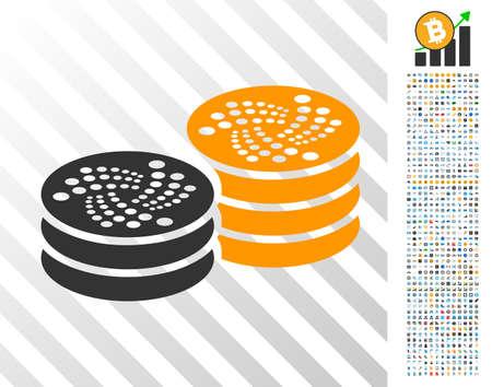 Iota Coin Columns pictograph with 700 bonus bitcoin mining