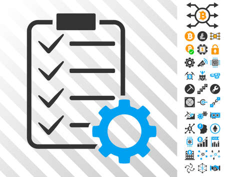 Ilustración de Smart Contract Gear playing cards icon with additional bitcoin mining and blockchain pictographs. Flat vector icons for blockchain toolbars. - Imagen libre de derechos