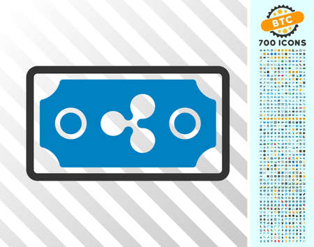 Ripple Banknote pictograph with 700 bonus bitcoin mining and