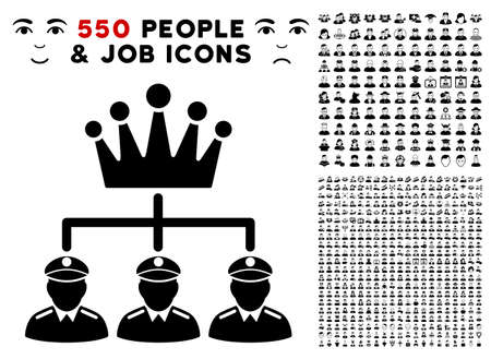 Monarchy Structure icon with 550 bonus pitiful and happy people symbols. Vector illustration style is flat black iconic symbols.