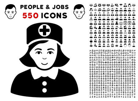 Nurse pictograph with 550 bonus pitiful and happy jobs pictograms. Vector illustration style is flat black iconic symbols.