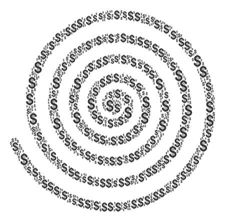 Hypnosis mosaic of dollar symbols. Vector dollar currency pictograms are organized into hypnosis collage.