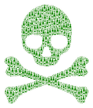 Skull pattern organized of wine bottle pictograms. Vector wine bottle elements are united into mosaic fear illustration.