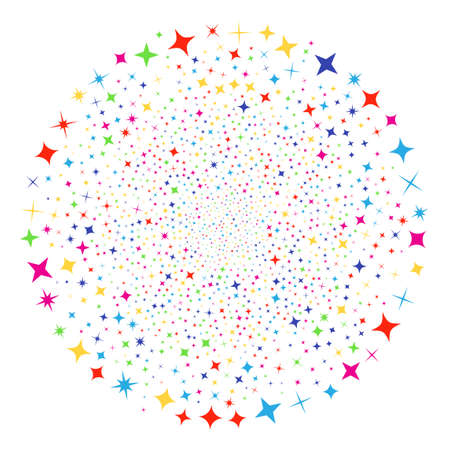 Multicolored Shine Stars salute round cluster. Raster round cluster fireworks combined with scatter shine stars elements. Colorful Raster abstraction.