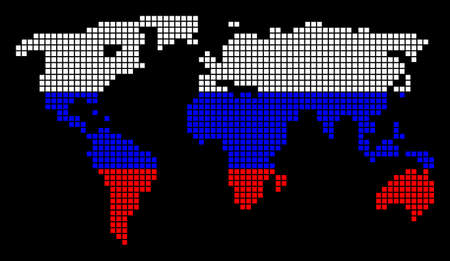A dotted pixel world map vector geographic map in Russia flag colors ...