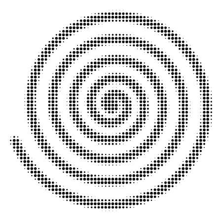 Hypnosis symbol on halftone dotted pattern style vector icon illustration on a white background.