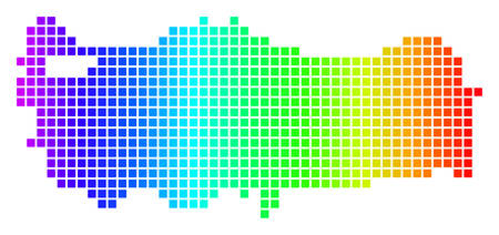 Dot spectrum pixel Turkey Map. Vector geographic map in bright ...