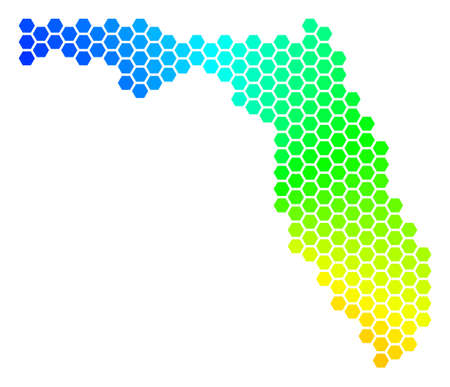 Spectrum hexagon Map. Vector geographic map in rainbow colors on a white background. Spectrum has circular gradient. Multicolored vector composition of Florida Map designed of hexagonal spots.