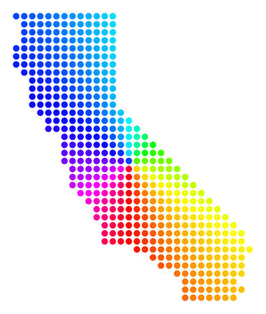Spectral dot California Map. Vector geographic map in bright ... on