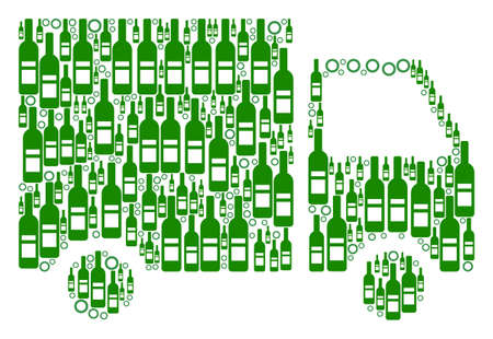 Ilustración de Shipment Van composition of wine bottles and circle particles in different sizes and green colors. Vector items are united into shipment van collage. Bottle vector illustration. - Imagen libre de derechos