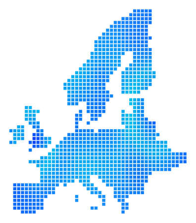 Blue Pixel European Union Map  Vector geographic map in blue