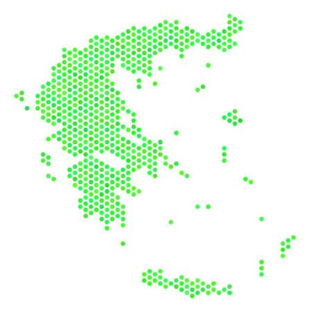 Fresh green Greece map. Vector hex tile territorial map ...