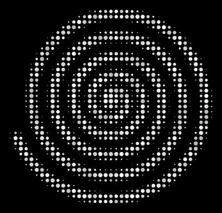Hypnosis halftone vector icon. Illustration style is pixelated iconic hypnosis symbol on a black background. Halftone texture is created with circle blots.