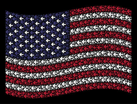 Arrow left symbols are combined into waving American flag stylization on a dark background. Vector composition of America state flag is composed of arrow left items.
