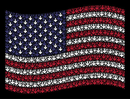 Arrow down symbols are combined into waving USA flag stylization on a dark background. Vector collage of USA state flag is created from arrow down elements.