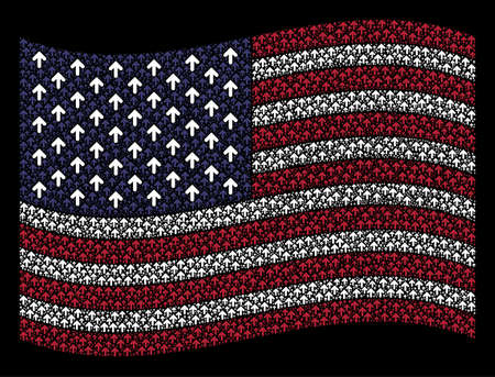 Arrow direction symbols are combined into waving American flag stylization on a dark background. Vector collage of American state flag is composed from arrow direction items.