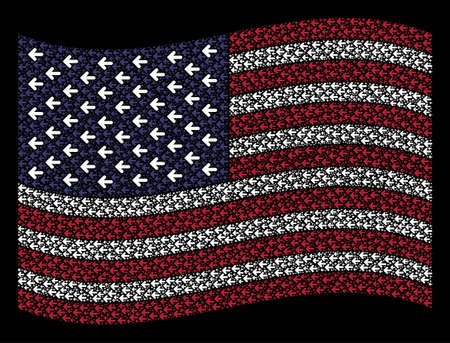 Arrow left pictograms are combined into waving USA flag abstraction on a dark background. Vector composition of America state flag is created of arrow left items.