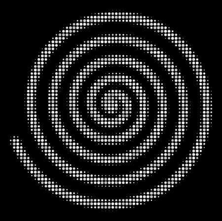 Hypnosis halftone vector pictogram. Illustration style is dotted iconic hypnosis icon symbol on a black background. Halftone pattern is spheric elements.