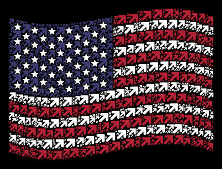 Arrow up right icons are organized into waving United States flag mosaic on a dark background. Vector collage of American state flag is constructed from arrow up right elements.