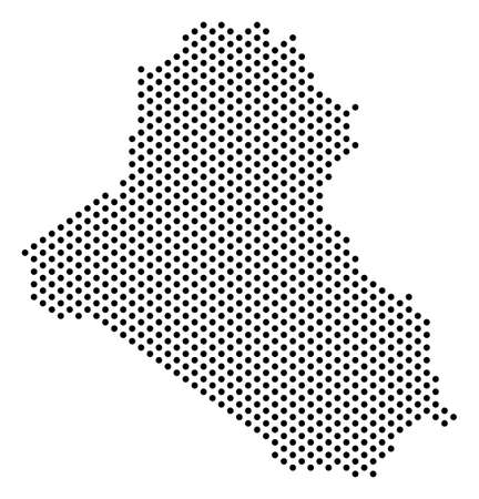 Dotted pixel Iraq Map. Vector geographic map in bright spectrum ...