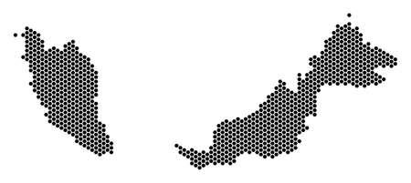 Ilustración de Hex tile Malaysia map vector territory plan on a white background. Abstract Malaysia map collage is designed from hexagon spots. - Imagen libre de derechos