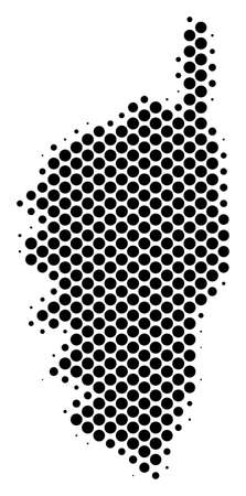 Abstract Corsica France Island map. Vector halftone territorial plan. Cartographic dot composition. Schematic Corsica France Island map is created of regular round dot grid.